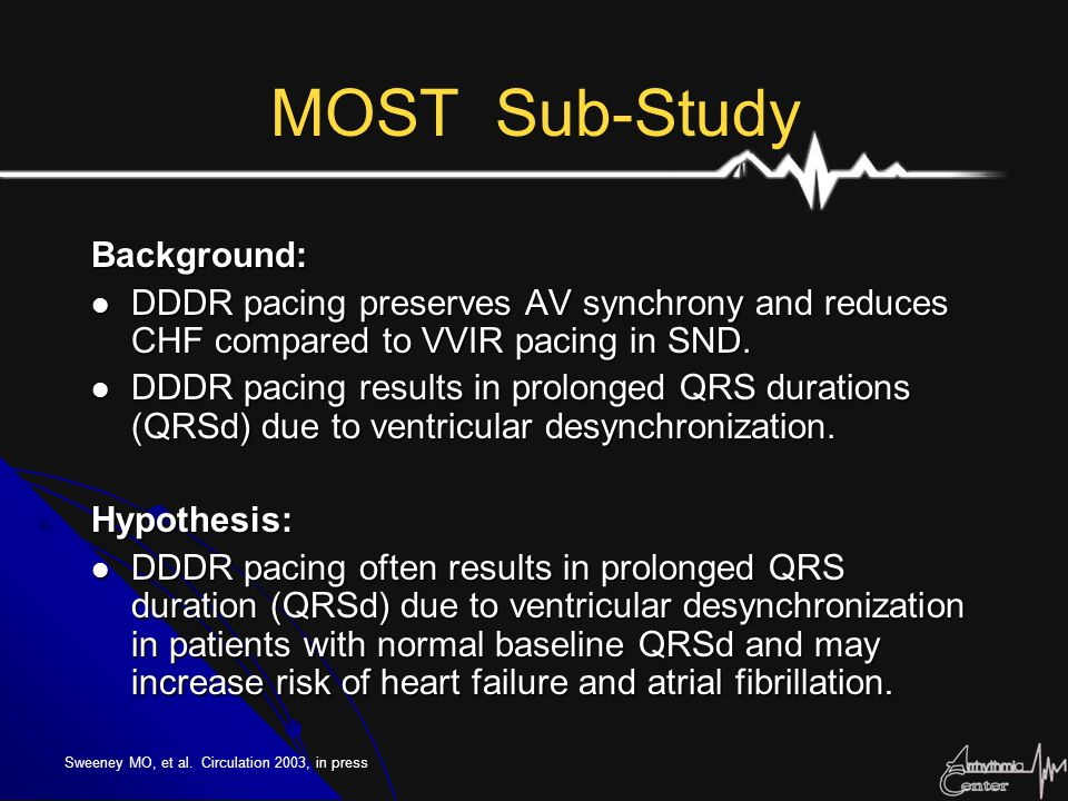 MOST Sub-Study Background: DDDR pacing preserves AV synchrony and reduces CHF compared to VVIR pacing in SND. DDDR pacing preserves AV synchrony and r