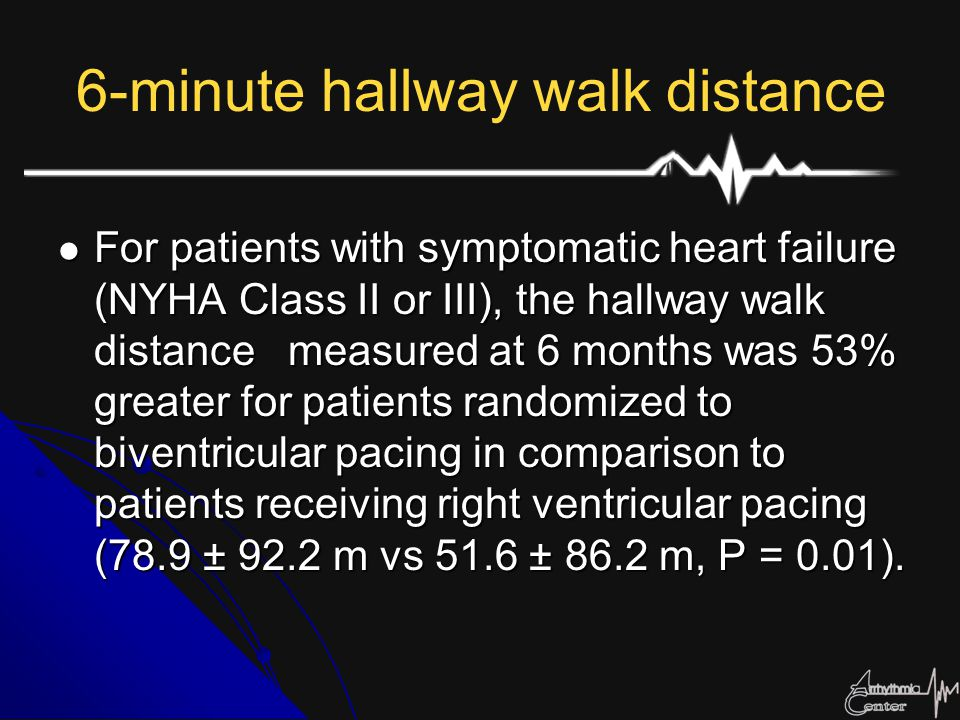 6-minute hallway walk distance For patients with symptomatic heart failure (NYHA Class II or III), the hallway walk distance measured at 6 months was