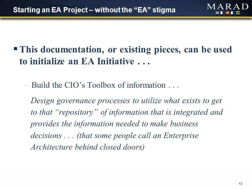 13 Starting an EA Project – without the EA stigma  This documentation, or existing pieces, can be used to initialize an EA Initiative...