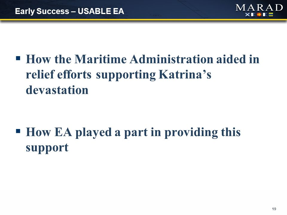19 Early Success – USABLE EA  How the Maritime Administration aided in relief efforts supporting Katrina's devastation  How EA played a part in providing this support