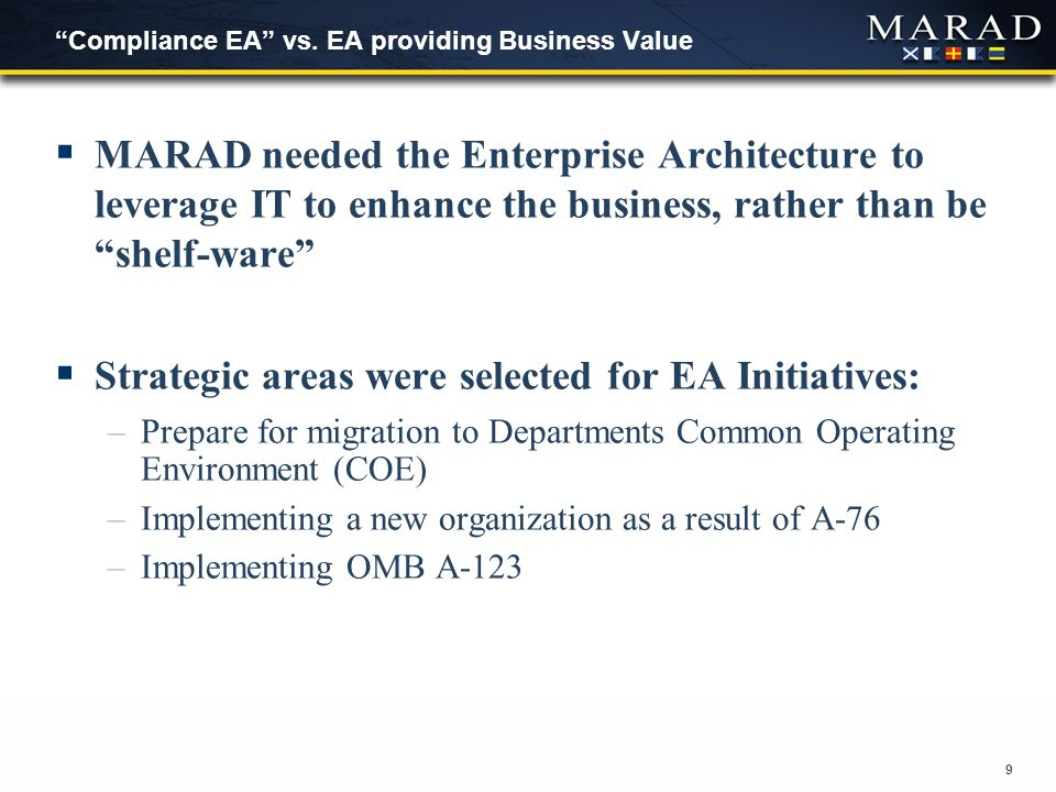 "9 ""Compliance EA"" vs. EA providing Business Value  MARAD needed the Enterprise Architecture to leverage IT to enhance the business, rather than be ""s"