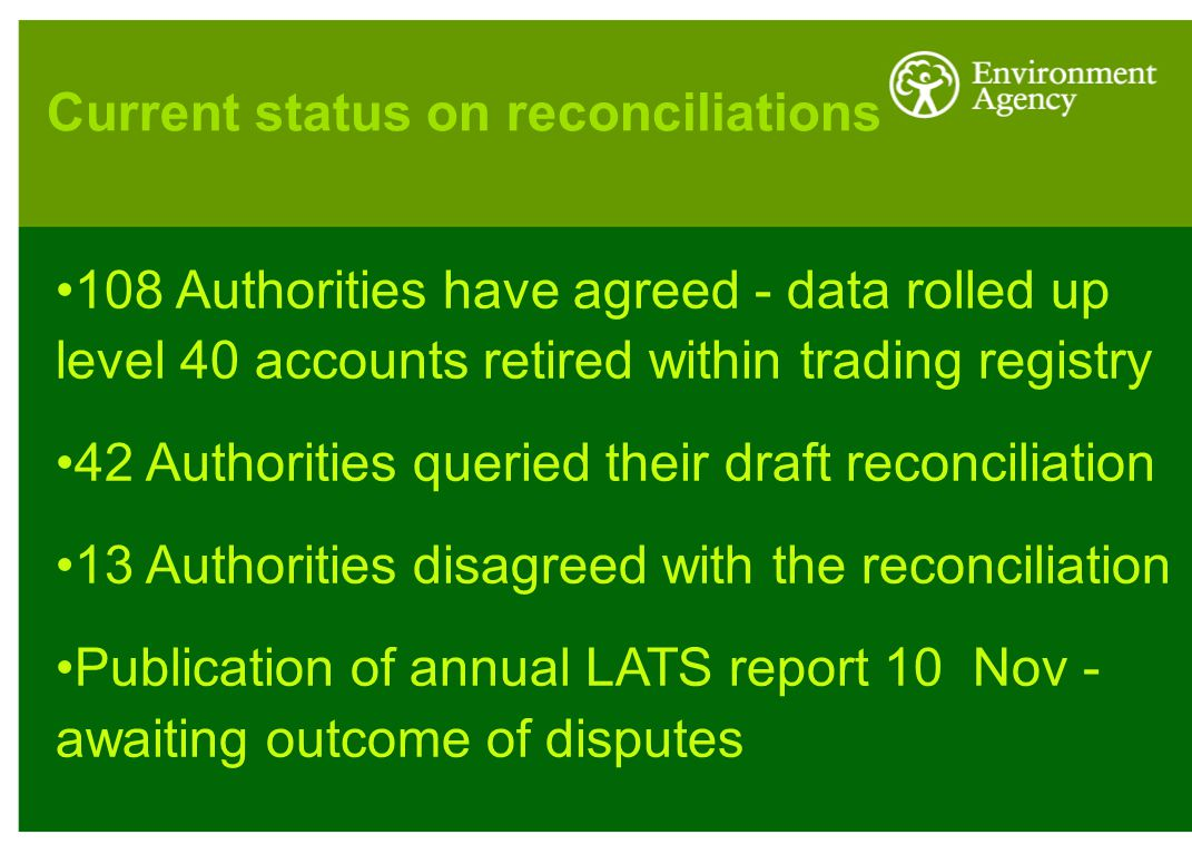 108 Authorities have agreed - data rolled up level 40 accounts retired within trading registry 42 Authorities queried their draft reconciliation 13 Authorities disagreed with the reconciliation Publication of annual LATS report 10 Nov - awaiting outcome of disputes Current status on reconciliations