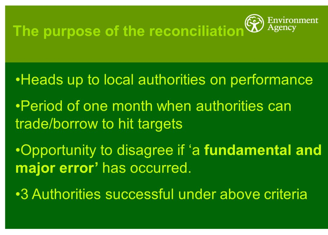 Heads up to local authorities on performance Period of one month when authorities can trade/borrow to hit targets Opportunity to disagree if 'a fundamental and major error' has occurred.
