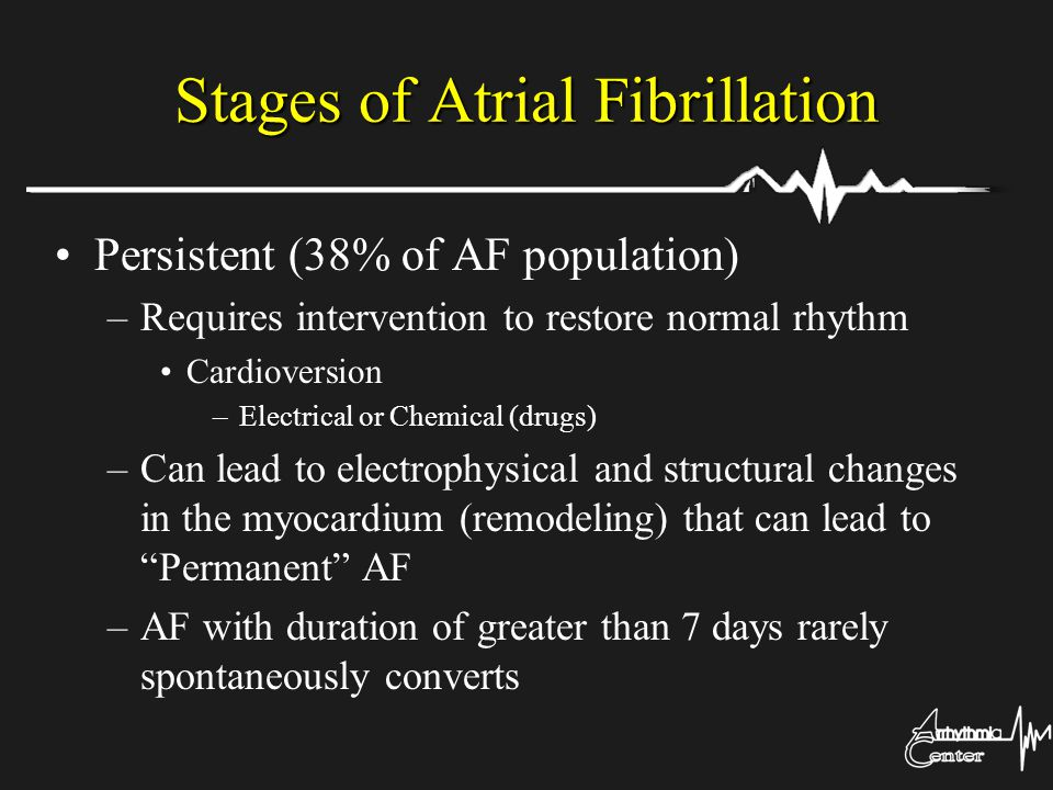 Stages of Atrial Fibrillation Persistent (38% of AF population) –Requires intervention to restore normal rhythm Cardioversion –Electrical or Chemical
