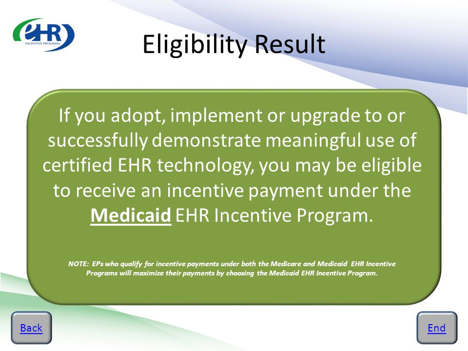 Eligibility Result BackEnd If you adopt, implement or upgrade to or successfully demonstrate meaningful use of certified EHR technology, you may be el