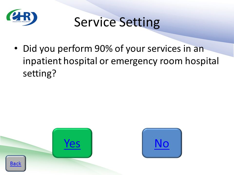 Service Setting Did you perform 90% of your services in an inpatient hospital or emergency room hospital setting? YesNo Back