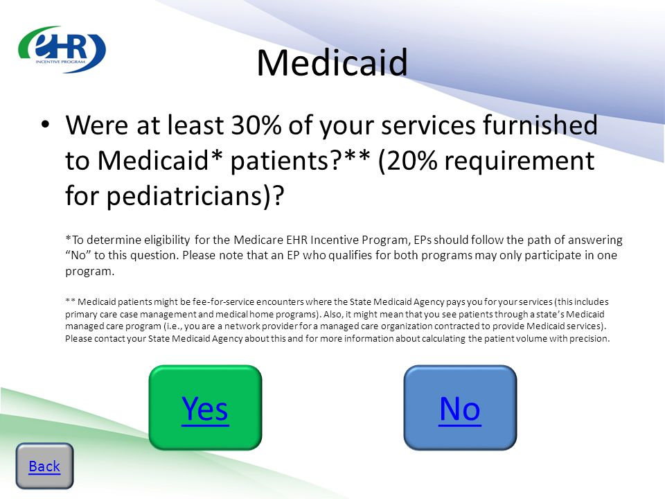 Medicaid Were at least 30% of your services furnished to Medicaid* patients?** (20% requirement for pediatricians)? *To determine eligibility for the