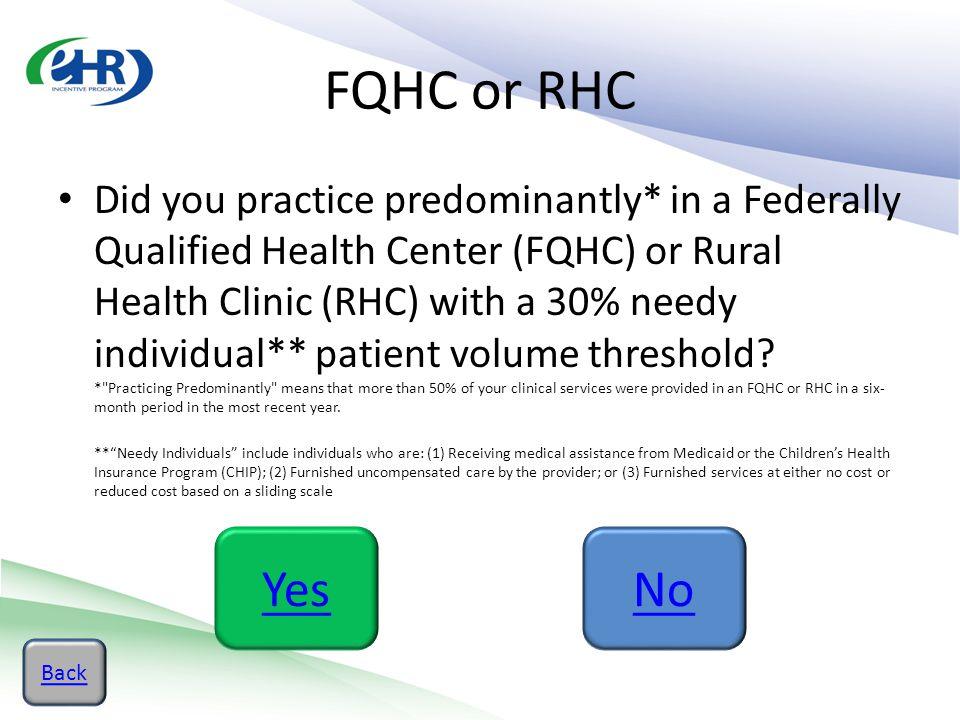 FQHC or RHC Did you practice predominantly* in a Federally Qualified Health Center (FQHC) or Rural Health Clinic (RHC) with a 30% needy individual** p