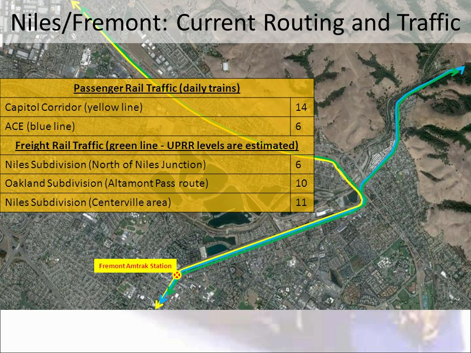Fremont Amtrak Station Niles/Fremont: Current Routing and Traffic Passenger Rail Traffic (daily trains) Capitol Corridor (yellow line)14 ACE (blue lin