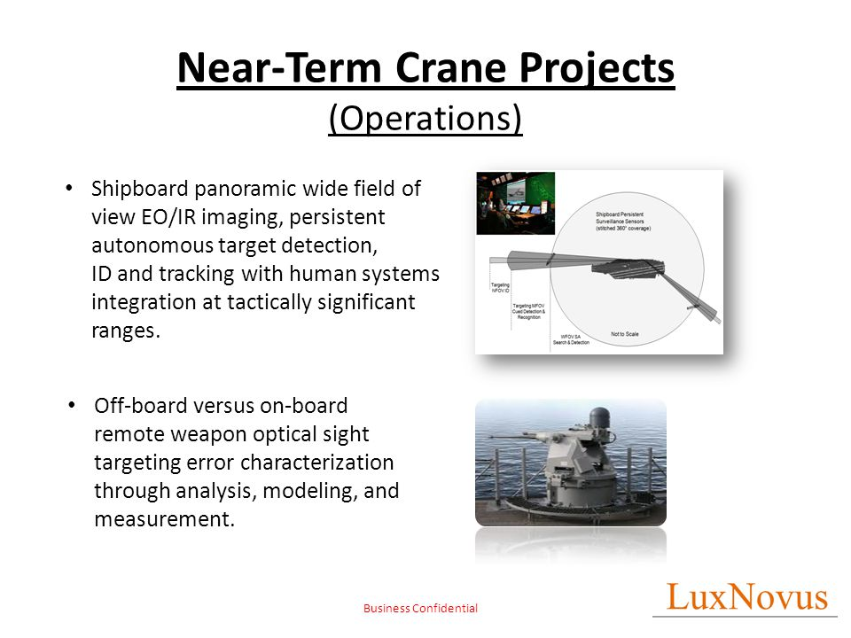 Business Confidential Near-Term Crane Projects (Operations) Shipboard panoramic wide field of view EO/IR imaging, persistent autonomous target detecti