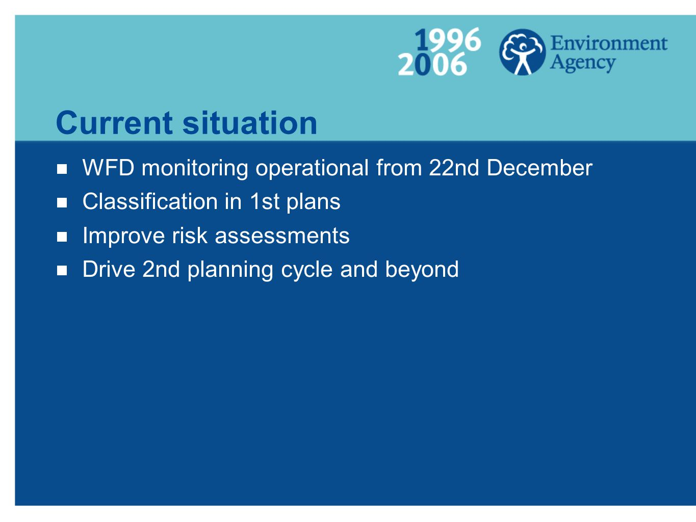 Current situation  WFD monitoring operational from 22nd December  Classification in 1st plans  Improve risk assessments  Drive 2nd planning cycle