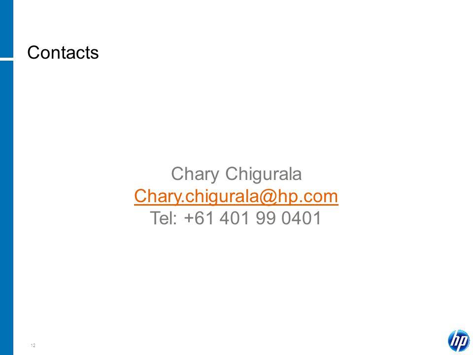 12 Contacts Chary Chigurala Chary.chigurala@hp.com Tel: +61 401 99 0401