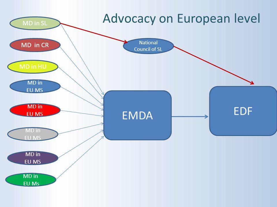 Advocacy on European level MD in SL MD in EU MS MD in CR MD in HU MD in EU MS MD in EU MS MD in EU Ms EDF National Council of SL MD in EU MS EMDA
