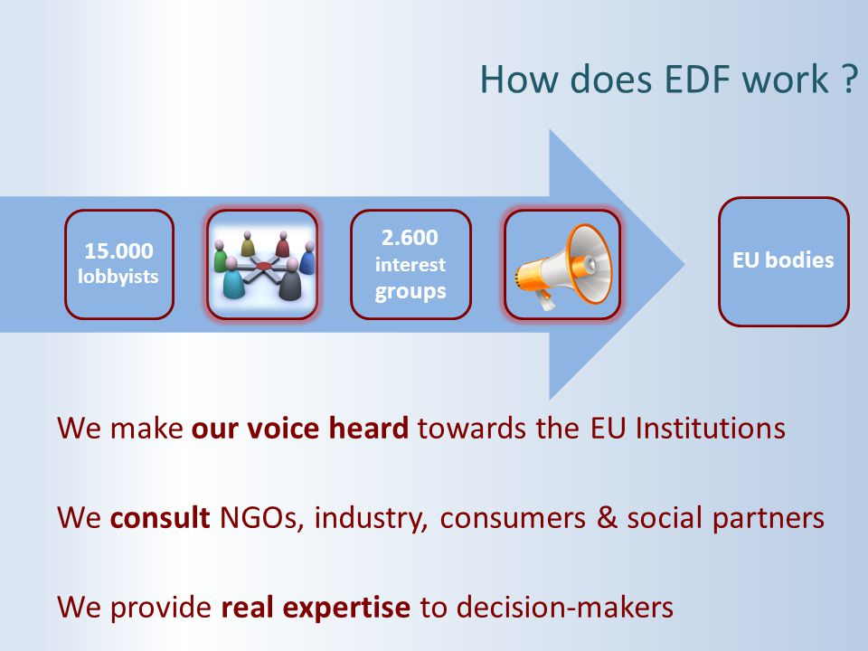We make our voice heard towards the EU Institutions We consult NGOs, industry, consumers & social partners We provide real expertise to decision-maker