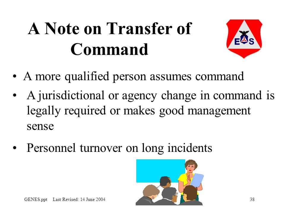 38GENES.ppt Last Revised: 14 June 2004 A Note on Transfer of Command A more qualified person assumes command A jurisdictional or agency change in command is legally required or makes good management sense Personnel turnover on long incidents