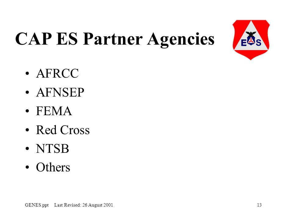13GENES.ppt Last Revised: 26 August 2001 CAP ES Partner Agencies AFRCC AFNSEP FEMA Red Cross NTSB Others