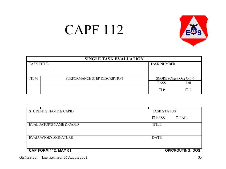 35GENES.ppt Last Revised: 26 August 2001 CAPF 112