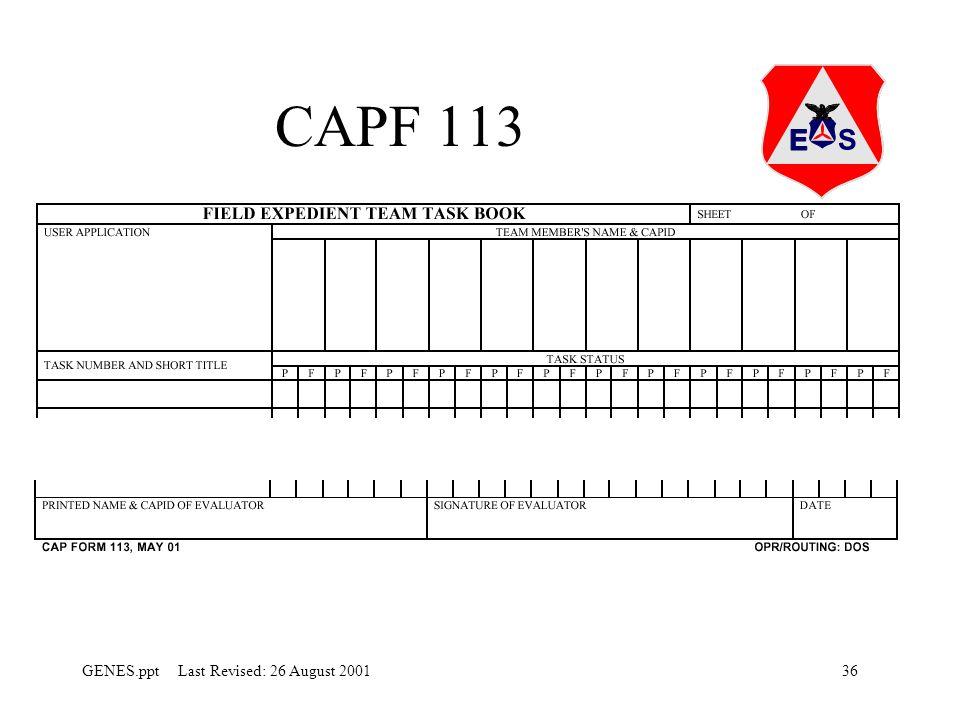 36GENES.ppt Last Revised: 26 August 2001 CAPF 113