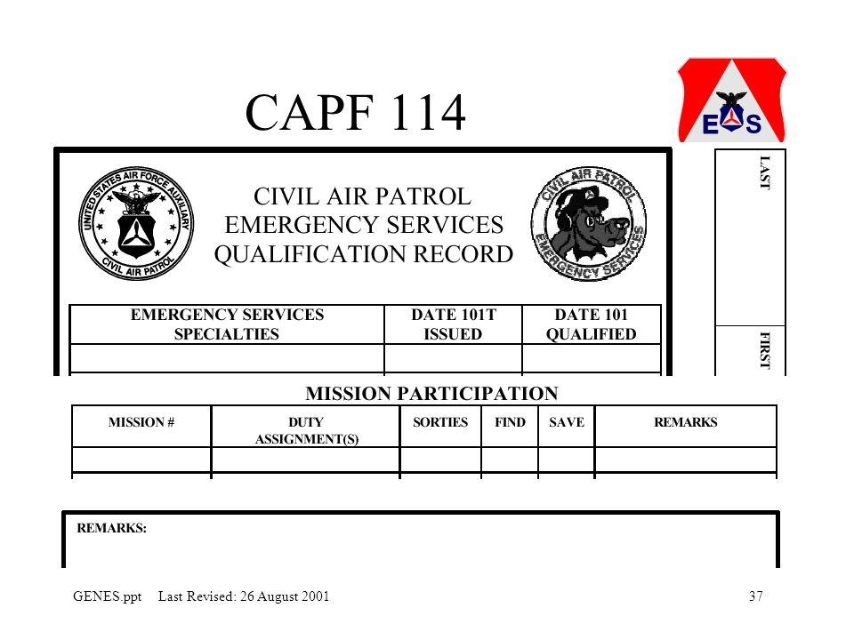 37GENES.ppt Last Revised: 26 August 2001 CAPF 114