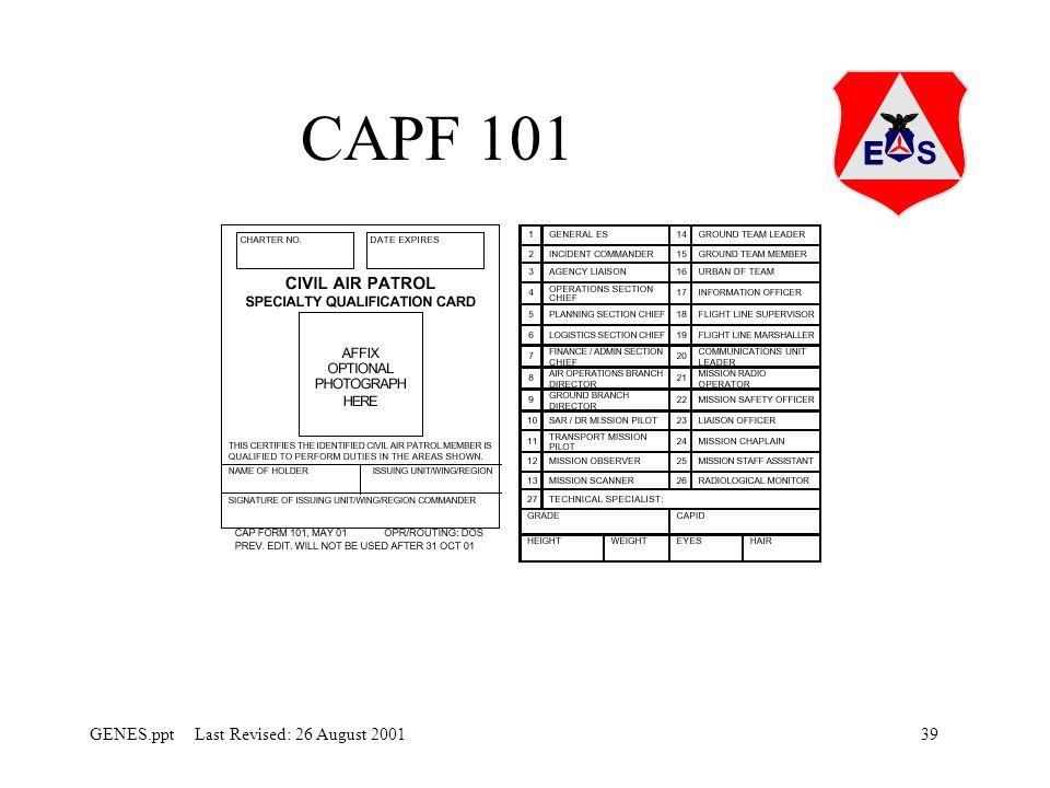 39GENES.ppt Last Revised: 26 August 2001 CAPF 101