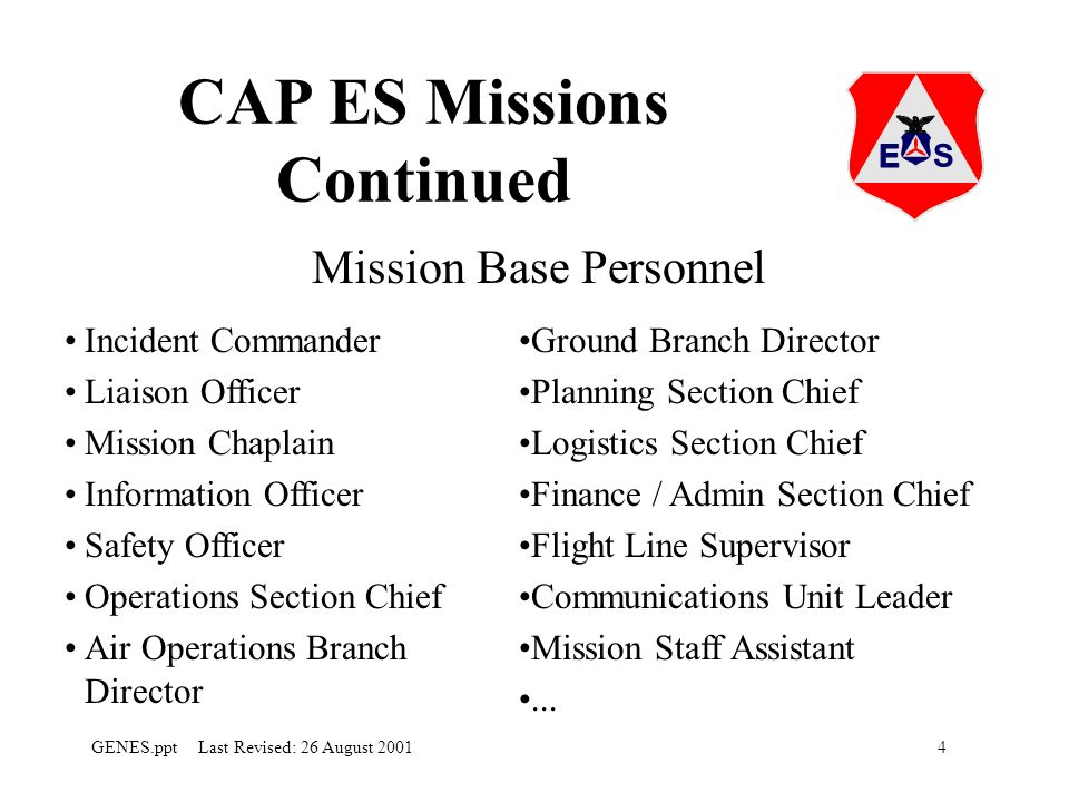 4GENES.ppt Last Revised: 26 August 2001 CAP ES Missions Continued Mission Base Personnel Incident Commander Liaison Officer Mission Chaplain Information Officer Safety Officer Operations Section Chief Air Operations Branch Director Ground Branch Director Planning Section Chief Logistics Section Chief Finance / Admin Section Chief Flight Line Supervisor Communications Unit Leader Mission Staff Assistant...