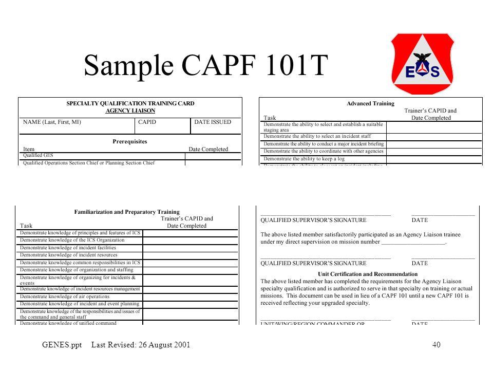 40GENES.ppt Last Revised: 26 August 2001 Sample CAPF 101T