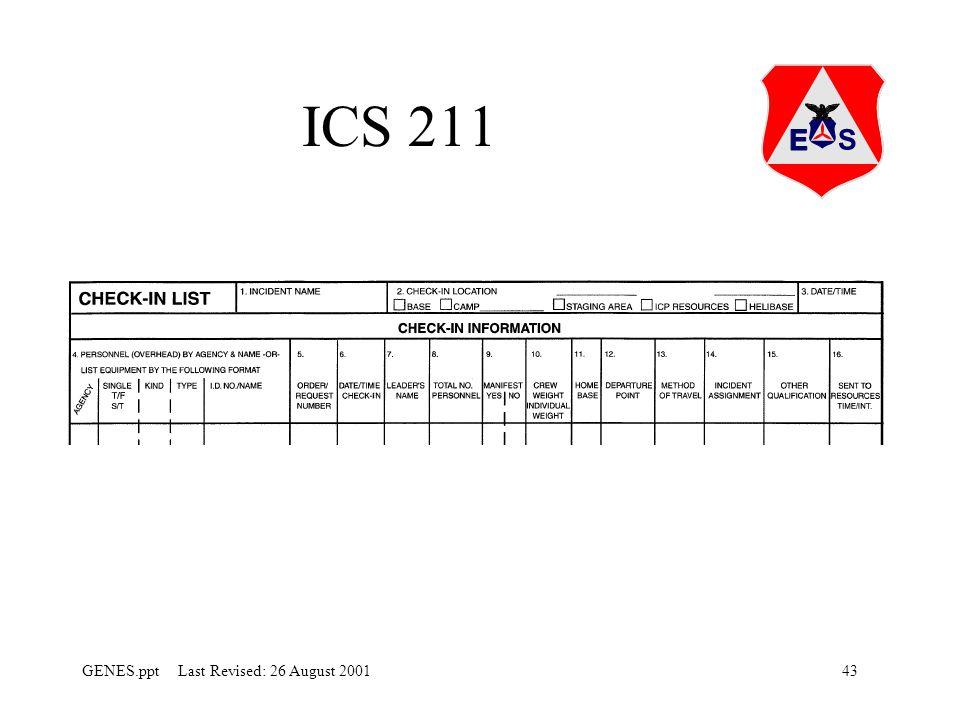 43GENES.ppt Last Revised: 26 August 2001 ICS 211