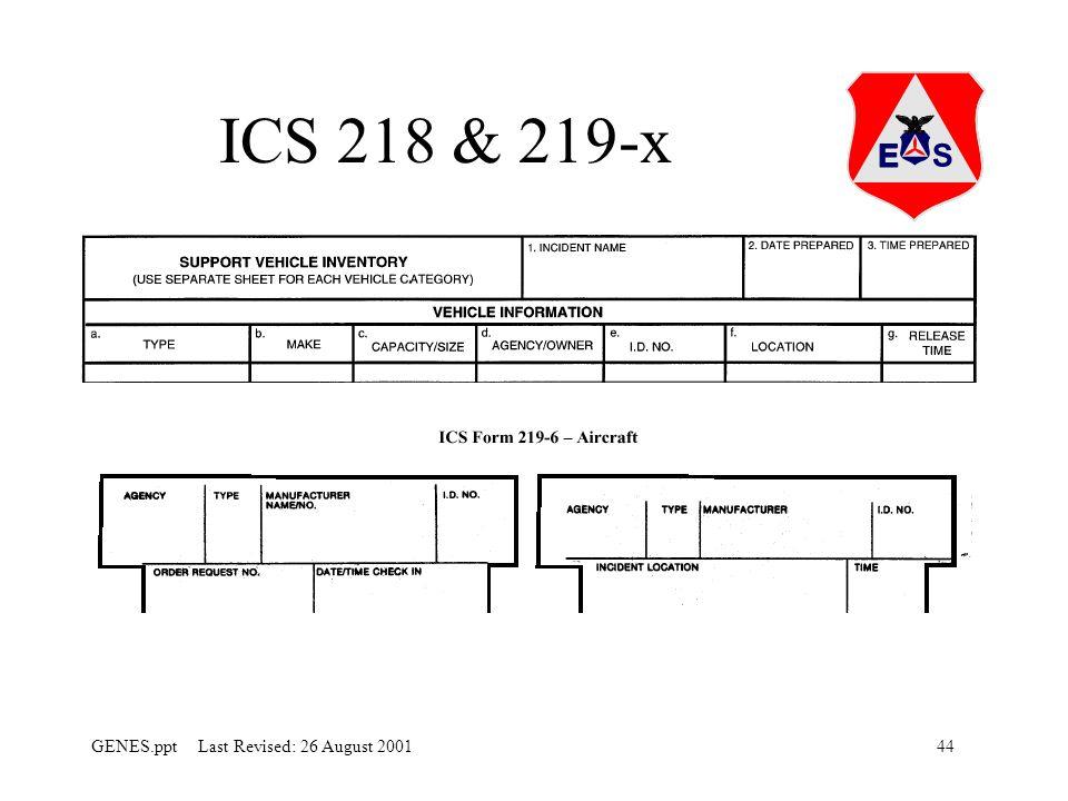 44GENES.ppt Last Revised: 26 August 2001 ICS 218 & 219-x