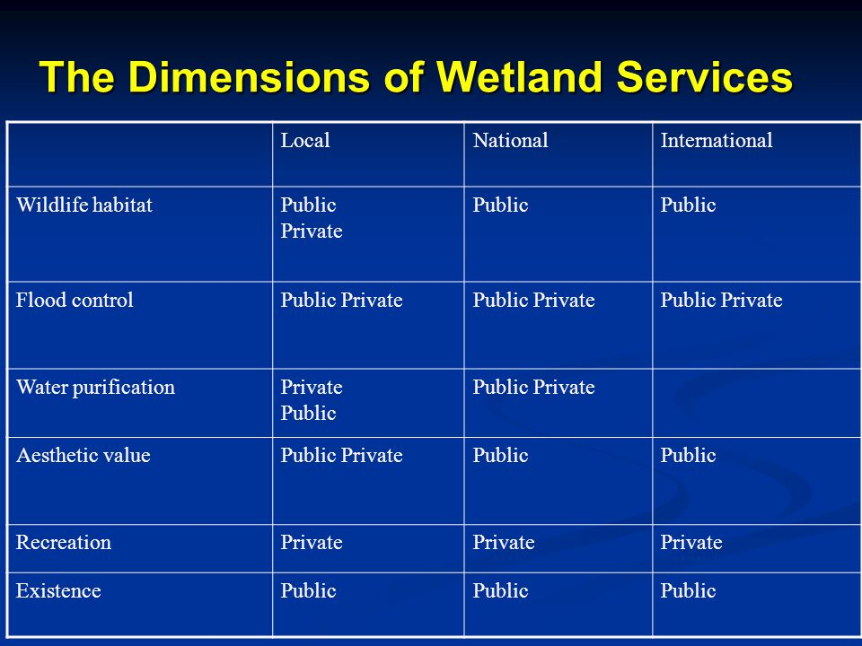 The Dimensions of Wetland Services LocalNationalInternational Wildlife habitatPublic Private Public Flood controlPublic Private Water purificationPrivate Public Public Private Aesthetic valuePublic PrivatePublic RecreationPrivate ExistencePublic