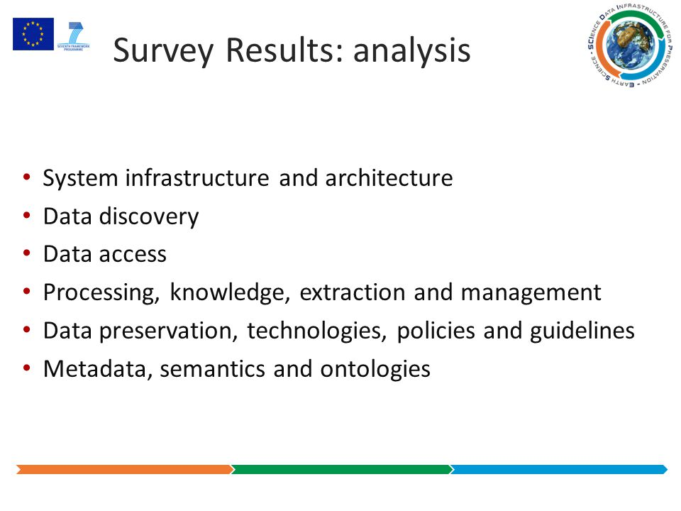 Survey Results: analysis System infrastructure and architecture Data discovery Data access Processing, knowledge, extraction and management Data preservation, technologies, policies and guidelines Metadata, semantics and ontologies