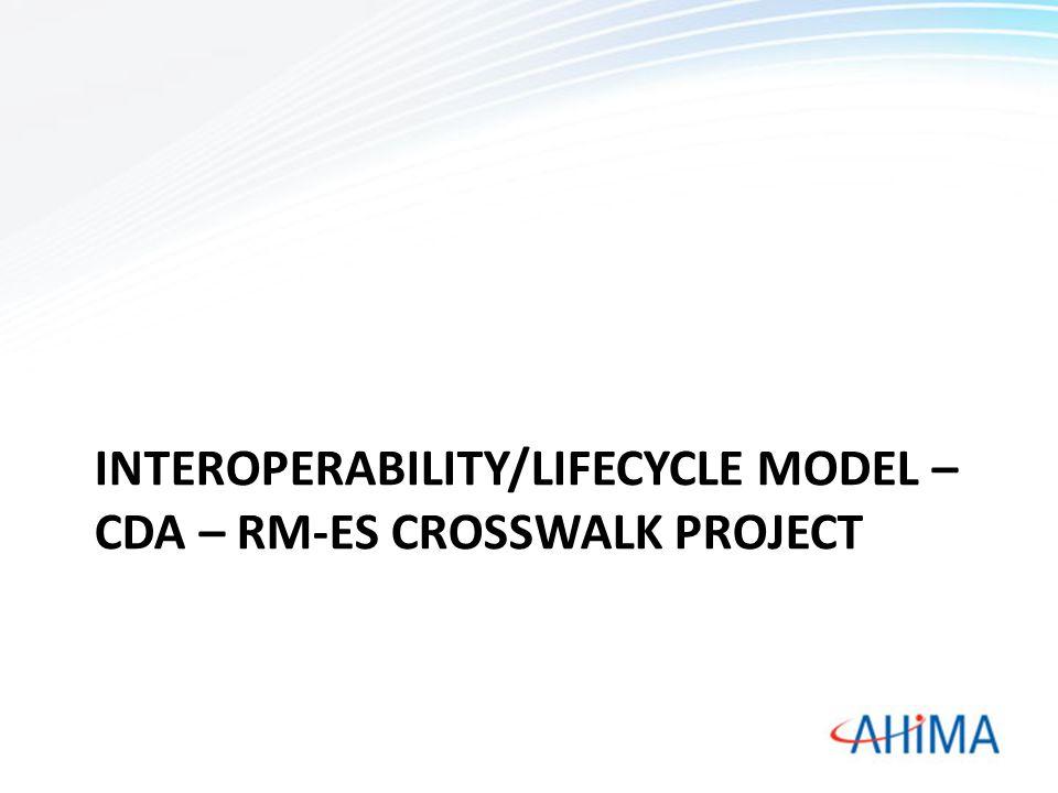 INTEROPERABILITY/LIFECYCLE MODEL – CDA – RM-ES CROSSWALK PROJECT