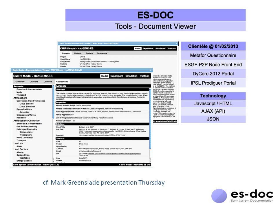 cf. Mark Greenslade presentation Thursday