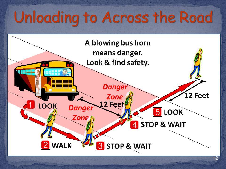 12 WALK LOOK STOP & WAIT 12 Feet A blowing bus horn means danger. Look & find safety. 12 Feet STOP & WAIT Danger Zone LOOK Danger Zone