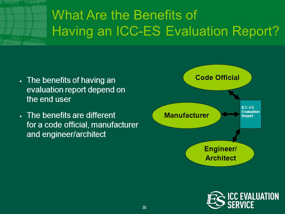 30  The benefits of having an evaluation report depend on the end user  The benefits are different for a code official, manufacturer and engineer/architect Code Official Manufacturer Engineer/ Architect ICC-ES Evaluation Report What Are the Benefits of Having an ICC-ES Evaluation Report