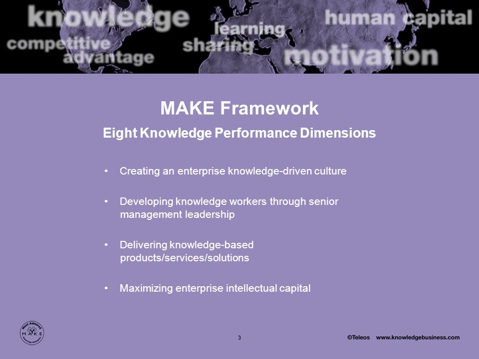 3 MAKE Framework Eight Knowledge Performance Dimensions Creating an enterprise knowledge-driven culture Developing knowledge workers through senior management leadership Delivering knowledge-based products/services/solutions Maximizing enterprise intellectual capital