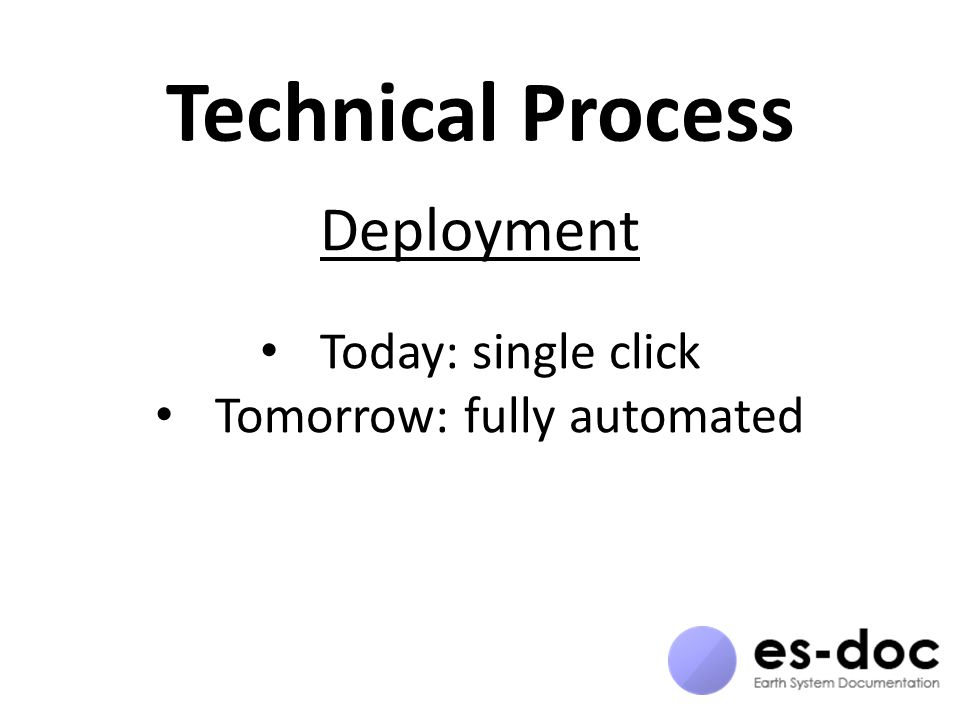 Technical Process Deployment Today: single click Tomorrow: fully automated