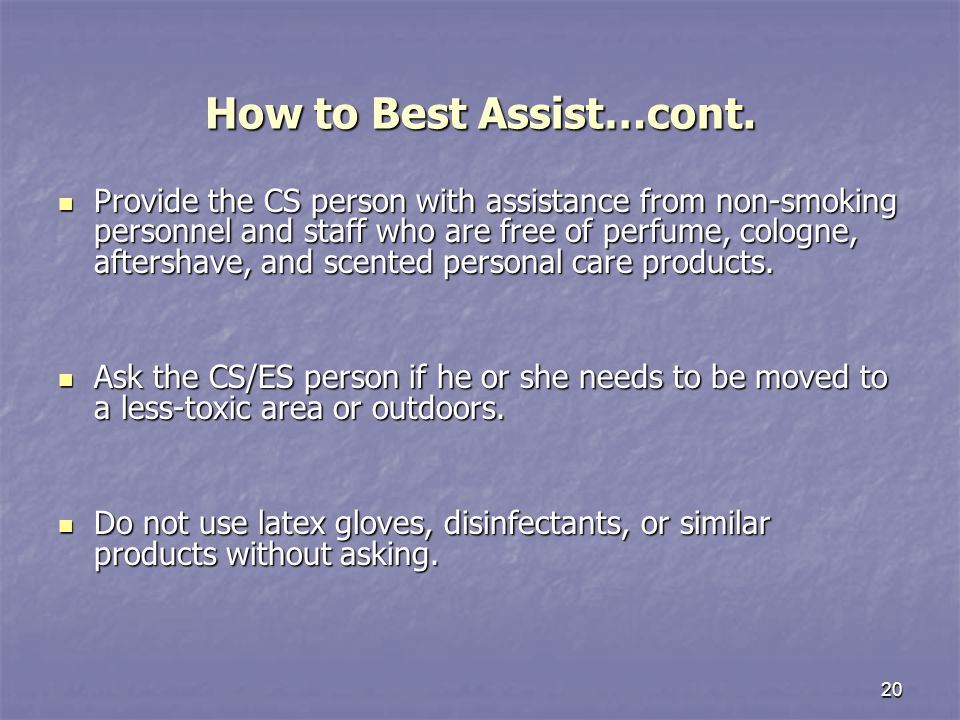 20 How to Best Assist…cont.