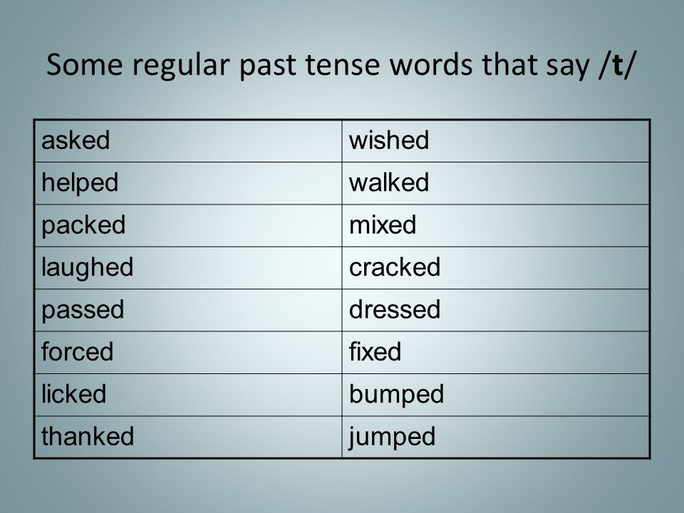 Some regular past tense words that say /t/ askedwished helpedwalked packedmixed laughedcracked passeddressed forcedfixed lickedbumped thankedjumped