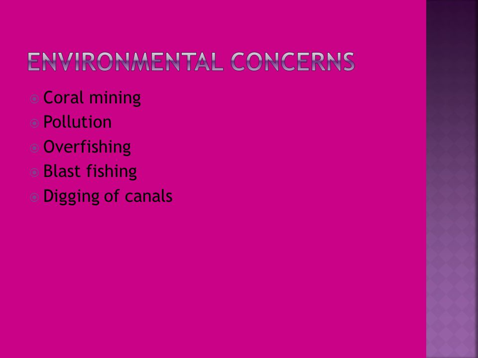  Coral mining  Pollution  Overfishing  Blast fishing  Digging of canals