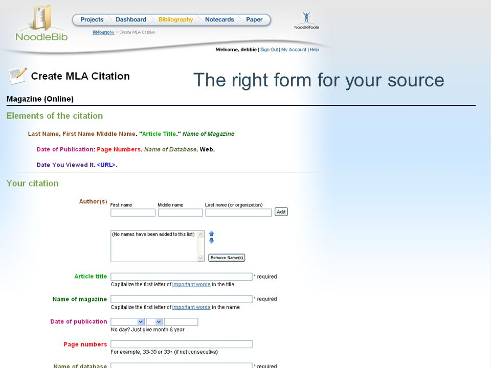 The right form for your source