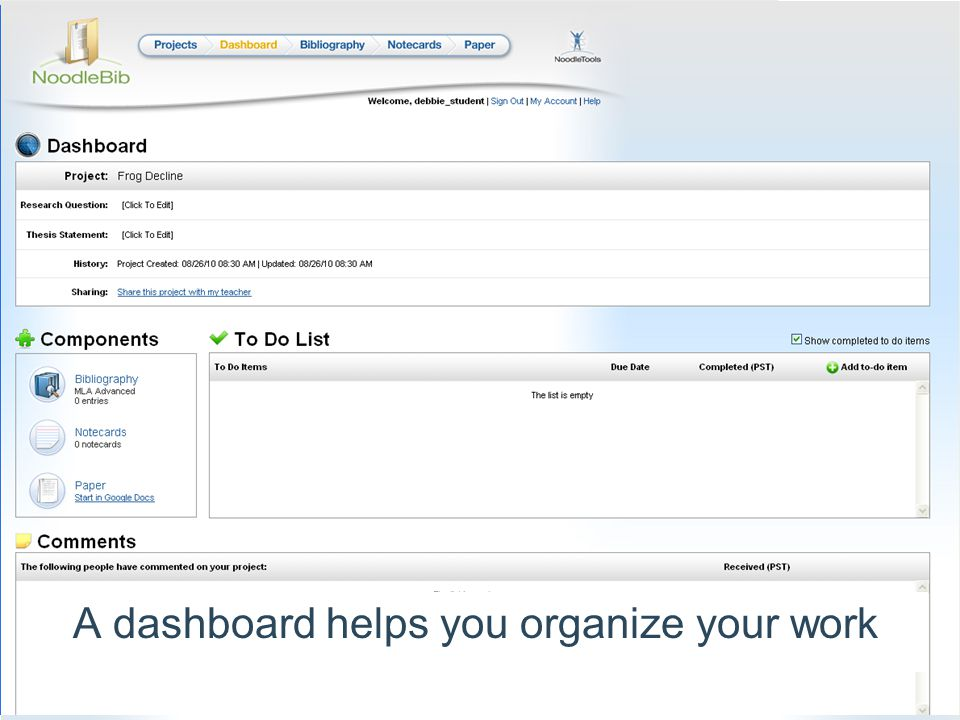 A dashboard helps you organize your work