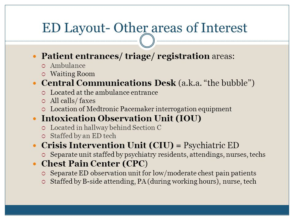 "ED Layout- Other areas of Interest Patient entrances/ triage/ registration areas:  Ambulance  Waiting Room Central Communications Desk (a.k.a. ""the"