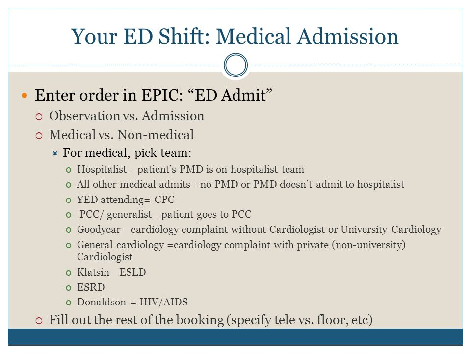 Your ED Shift: Medical Admission Enter order in EPIC: ED Admit  Observation vs.