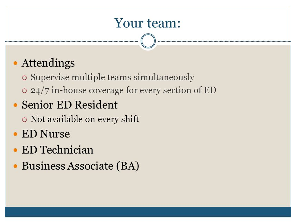 Your team: Attendings  Supervise multiple teams simultaneously  24/7 in-house coverage for every section of ED Senior ED Resident  Not available on every shift ED Nurse ED Technician Business Associate (BA)