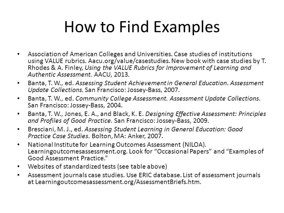 How to Find Examples Association of American Colleges and Universities.