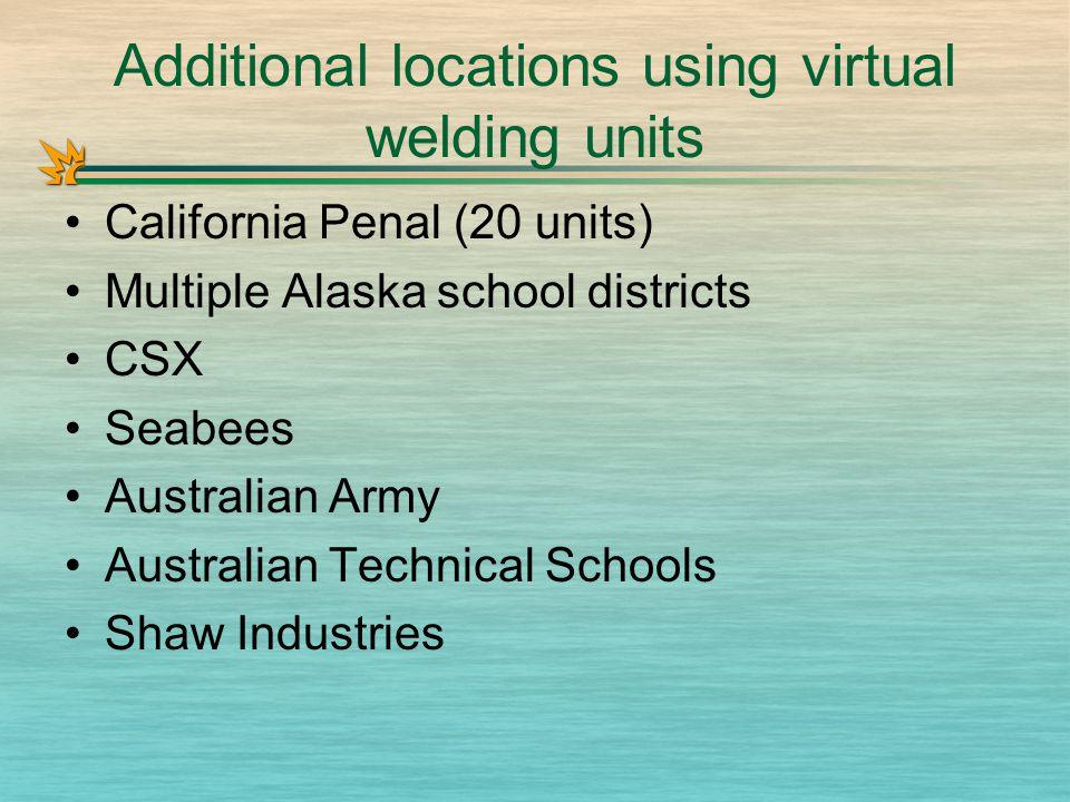 Additional locations using virtual welding units California Penal (20 units) Multiple Alaska school districts CSX Seabees Australian Army Australian Technical Schools Shaw Industries