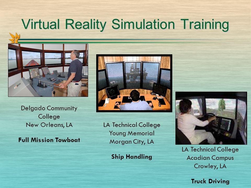 Virtual Reality Simulation Training Delgado Community College New Orleans, LA Full Mission Towboat LA Technical College Young Memorial Morgan City, LA Ship Handling LA Technical College Acadian Campus Crowley, LA Truck Driving