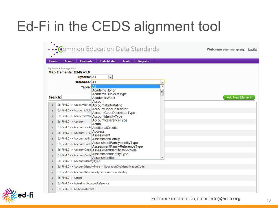 Ed-Fi in the CEDS alignment tool 13 For more information, email info@ed-fi.org