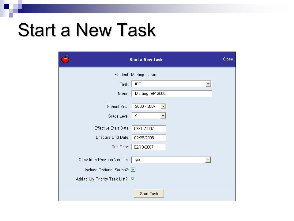 Start a New Task