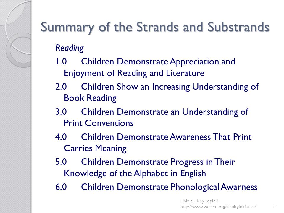 Summary of the Strands and Substrands Reading 1.0Children Demonstrate Appreciation and Enjoyment of Reading and Literature 2.0Children Show an Increasing Understanding of Book Reading 3.0Children Demonstrate an Understanding of Print Conventions 4.0Children Demonstrate Awareness That Print Carries Meaning 5.0Children Demonstrate Progress in Their Knowledge of the Alphabet in English 6.0Children Demonstrate Phonological Awarness Unit 5 - Key Topic 3